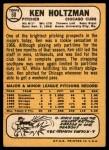1968 Topps #60  Ken Holtzman  Back Thumbnail