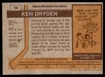 1973 Topps #10  Ken Dryden   Back Thumbnail