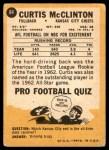 1967 Topps #64  Curtis McClinton  Back Thumbnail