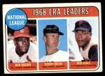 1969 Topps #8   -  Bob Gibson / Bobby Bolin / Bob Veale NL ERA Leaders Front Thumbnail