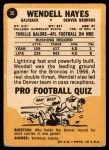 1967 Topps #36  Wendell Hayes  Back Thumbnail