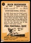 1967 Topps #71  Buck Buchanan  Back Thumbnail