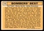 1963 Topps #173   -  Mickey Mantle / Bobby Richardson / Tom Tresh Bomber's Best Back Thumbnail