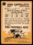 1967 Topps #3  Gino Cappelletti  Back Thumbnail