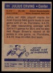 1972 Topps #195  Julius Erving   Back Thumbnail
