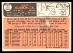 1966 Topps #589  Lou Klimchock  Back Thumbnail