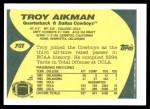 1989 Topps Traded #70 T Troy Aikman  Back Thumbnail