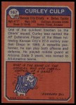 1973 Topps #167  Curley Culp  Back Thumbnail