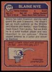 1973 Topps #299  Blaine Nye  Back Thumbnail