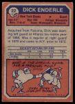 1973 Topps #22  Dick Enderle  Back Thumbnail