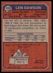 1973 Topps #335  Len Dawson  Back Thumbnail