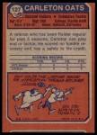 1973 Topps #127  Carleton Oats  Back Thumbnail