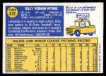 1970 Topps #618  Billy Wynne  Back Thumbnail