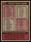 1977 Topps #222   Steelers Team Checklist Back Thumbnail