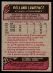 1977 Topps #242  Rolland Lawrence  Back Thumbnail