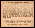 1941 Gum Inc. War Gum #111   U.S. Bombers Attack Subs In Aleutians Back Thumbnail