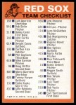1973 Topps Blue Checklist   Red Sox Back Thumbnail