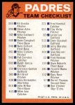 1973 Topps Blue Checklist   Padres Back Thumbnail