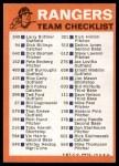 1973 Topps Blue Checklist   Rangers Back Thumbnail