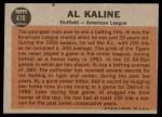 1962 Topps #470   -  Al Kaline All-Star Back Thumbnail