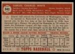1952 Topps #345  Sammy White  Back Thumbnail
