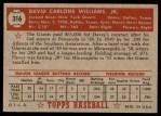 1952 Topps #316  Davey Williams  Back Thumbnail