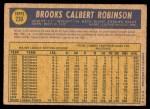 1970 O-Pee-Chee #230  Brooks Robinson  Back Thumbnail