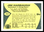 1989 Topps Traded #91 T Jim Harbaugh  Back Thumbnail