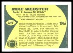 1989 Topps Traded #131 T Mike Webster  Back Thumbnail