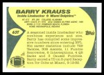 1989 Topps Traded #63 T Barry Krauss  Back Thumbnail