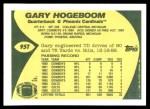 1989 Topps Traded #95 T Gary Hogeboom  Back Thumbnail