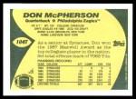 1989 Topps Traded #104 T Don McPherson  Back Thumbnail