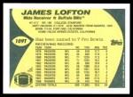 1989 Topps Traded #109 T James Lofton  Back Thumbnail