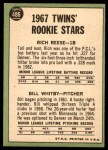 1967 Topps #486   -  Rich Reese / Bill Whitby Twins Rookies Back Thumbnail