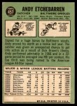 1967 Topps #457  Andy Etchebarren  Back Thumbnail
