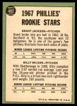 1967 Topps #402 xCMP  -  Grant Jackson / Billy Wilson Phillies Rookies Back Thumbnail