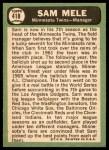 1967 Topps #418  Sam Mele  Back Thumbnail