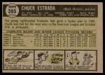 1961 Topps #395  Chuck Estrada  Back Thumbnail