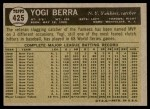 1961 Topps #425  Yogi Berra  Back Thumbnail