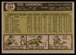 1961 Topps #254  Ted Sadowski  Back Thumbnail