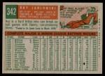1959 Topps #342  Ray Jablonski  Back Thumbnail