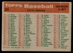1959 Topps #329   Tigers Team Checklist Back Thumbnail