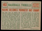 1959 Topps #463   -  Al Kaline Becomes Youngest Bat Champ Back Thumbnail