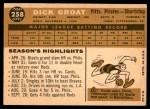 1960 Topps #258  Dick Groat  Back Thumbnail