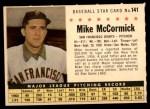 1961 Post #141 COM Mike McCormick   Front Thumbnail
