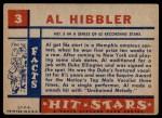 1957 Topps Hit Stars #3  Al Hibbler  Back Thumbnail