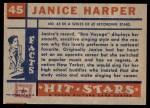 1957 Topps Hit Stars #45  Janice Harper   Back Thumbnail