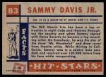1957 Topps Hit Stars #83  Sammy Davis Jr.   Back Thumbnail