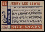 1957 Topps Hit Stars #53  Jerry Lee Lewis  Back Thumbnail