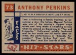 1957 Topps Hit Stars #73  Anthony Perkins  Back Thumbnail